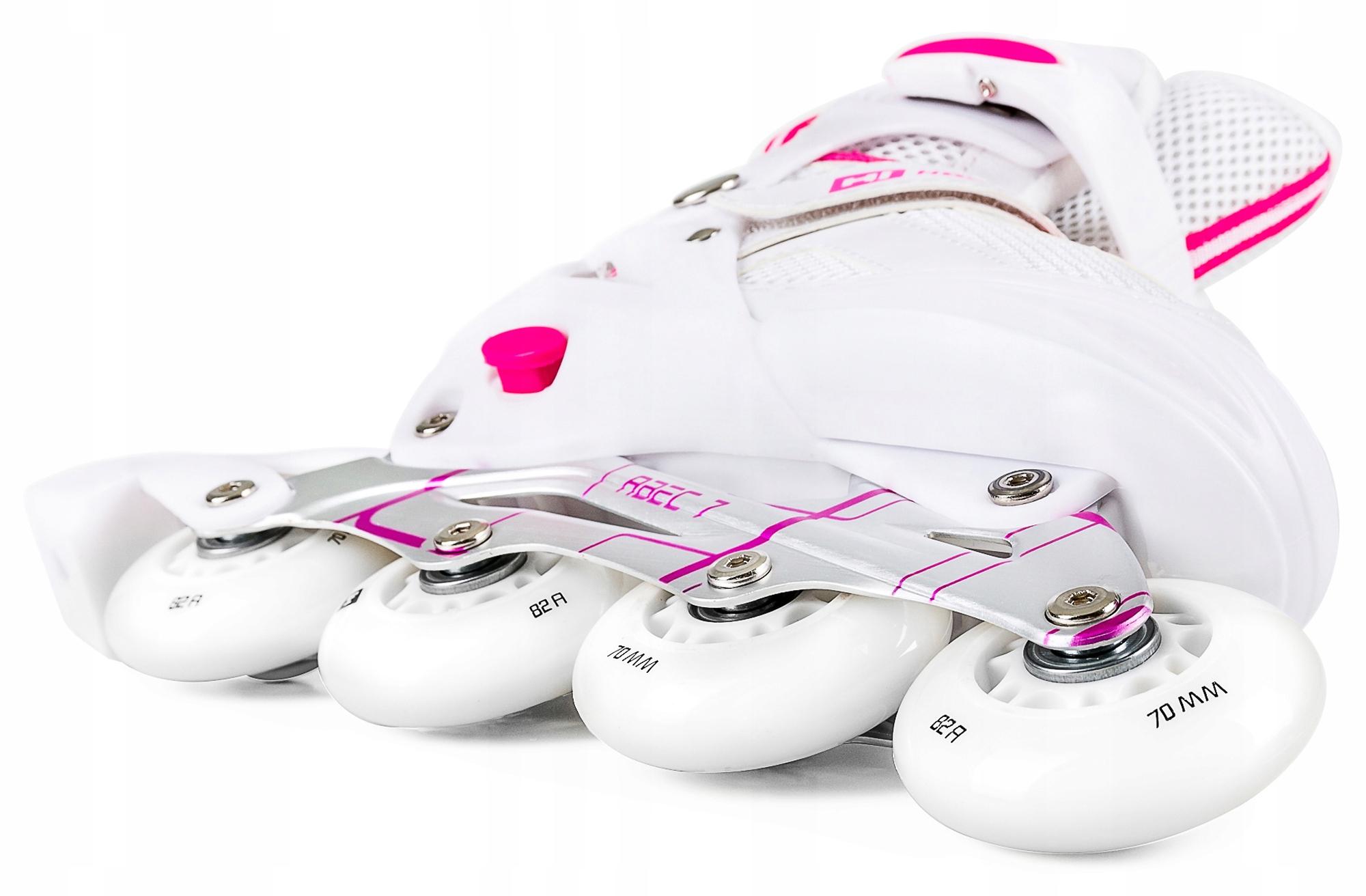 Rolko-wrotki 3W1 HS-8101A rozmiar L Biało-różowe