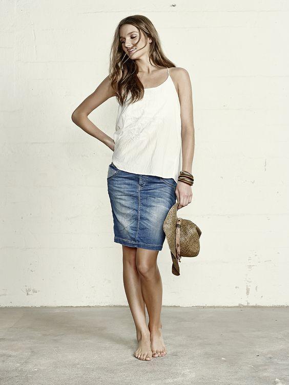 MOS MOSH ołówkowa jeansowa spódnica cekiny XS
