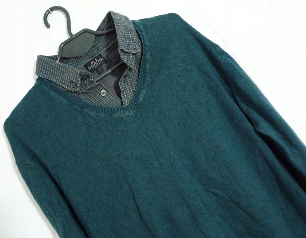 NEXT męski sweter z wszytą koszulą L