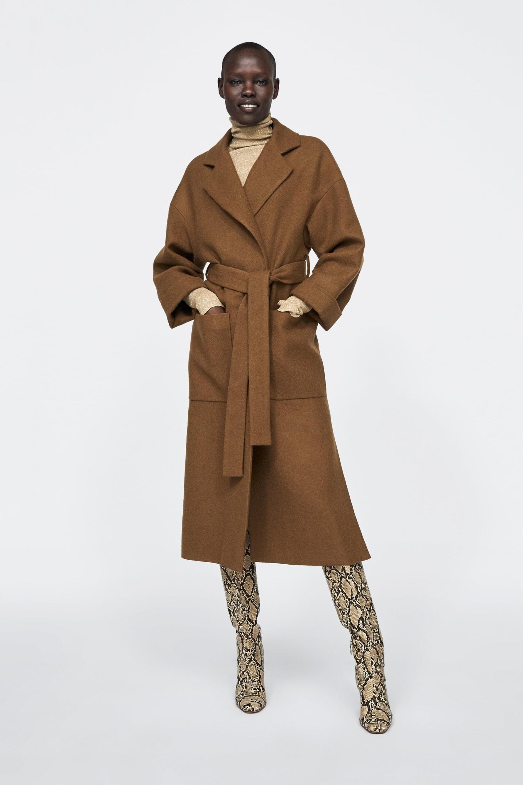 Brązowy płaszcz oversize, Zara, cena ok. 649,00 zł