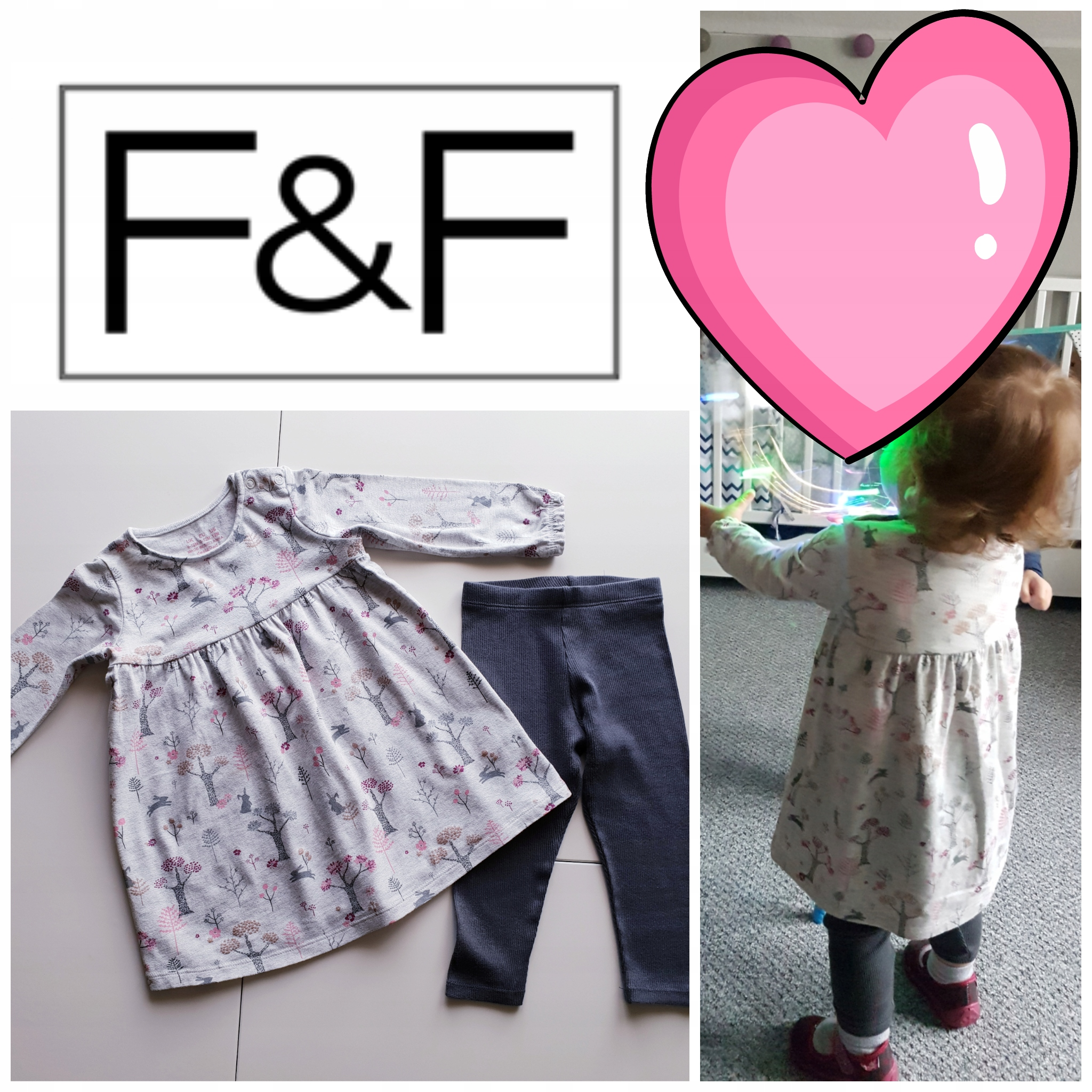 F&F śliczny komplet sukienka+legi, 9-12m, 80