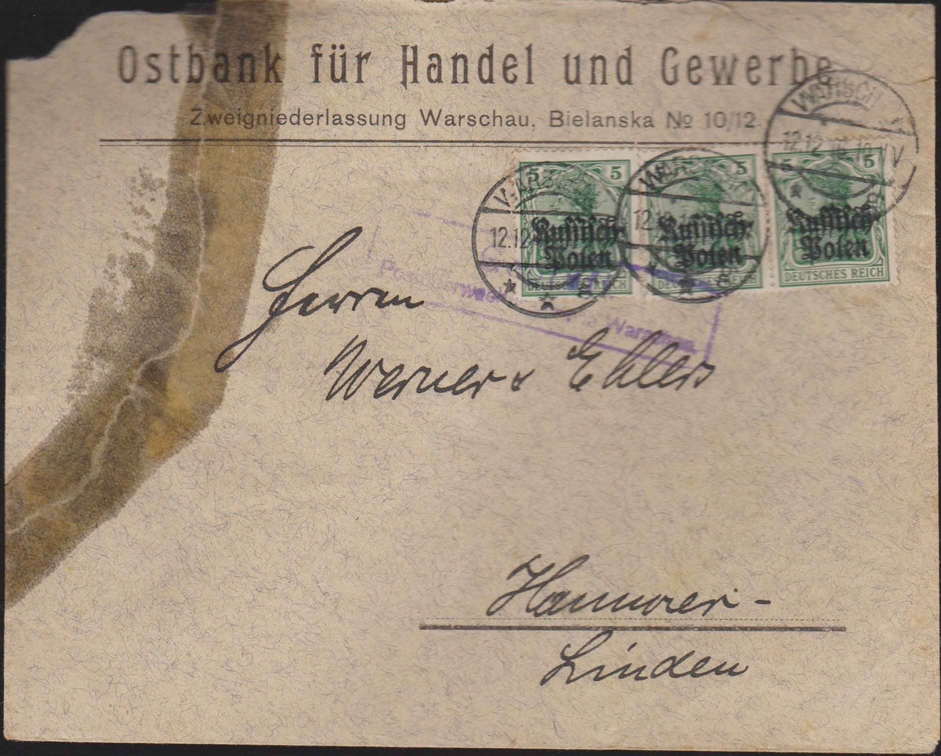 ON Koperta firmowa Warszawa - Hanower Fi. 2 1916