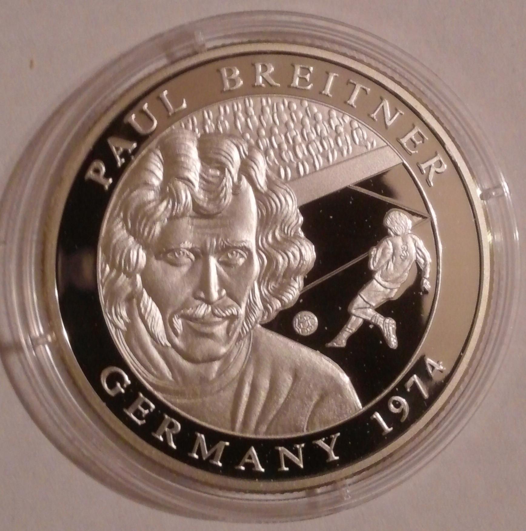 10 Dollars Liberia 2001 - Germany 1974 ; srebro