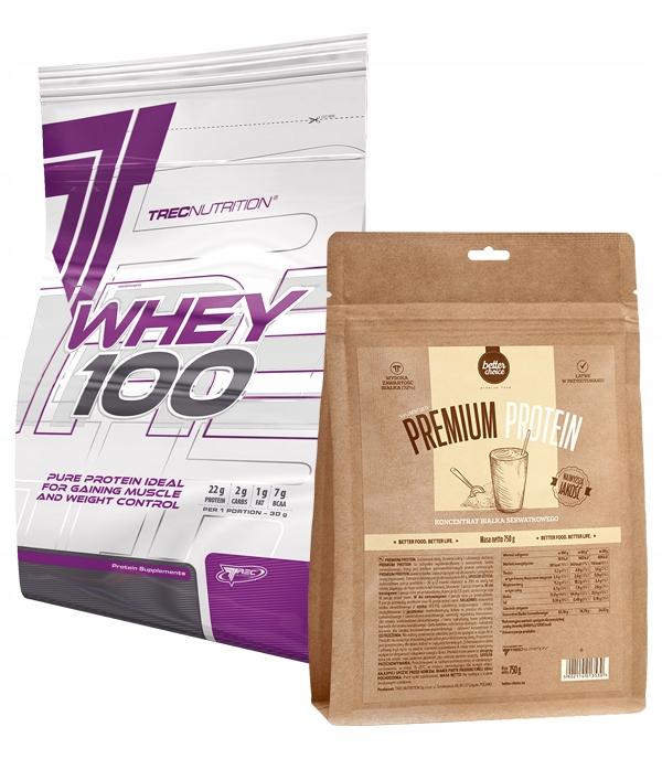 Trec Whey 100 2000g Cz.sezam +Premium Protien 750g