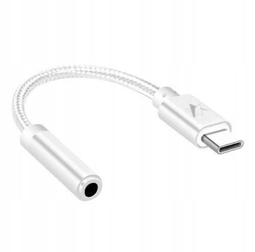 AUX mini jack - USB-C adapter srebrny bez zakłóceń