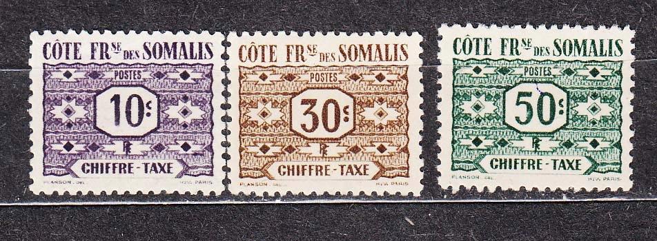kol.franc. SOMALIA Mi 44-46 dopłaty z 1947 czyste