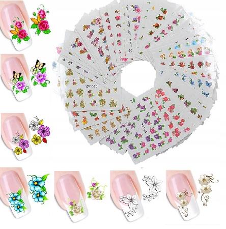 Zestaw 60 arkuszy naklejki wodne na paznokcie