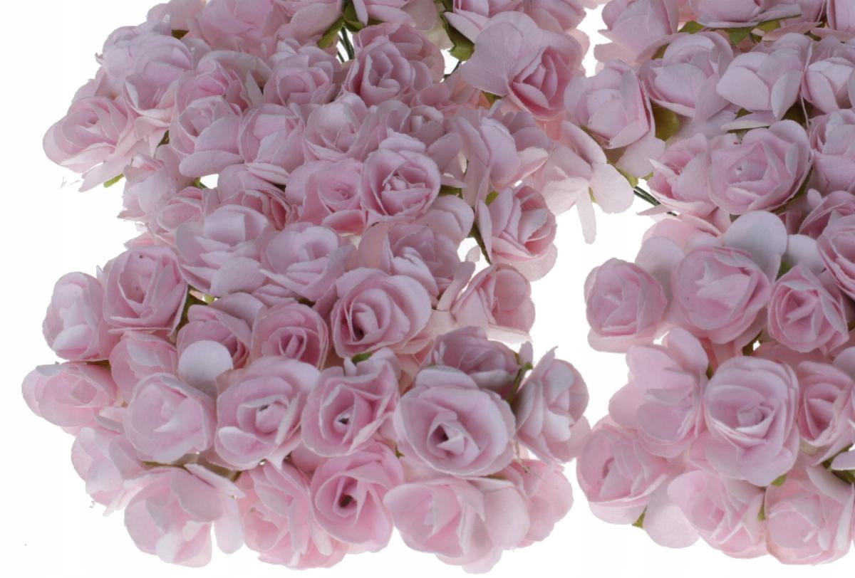 Różyczki papierowe Mini róża na druciku JASNY RÓŻ