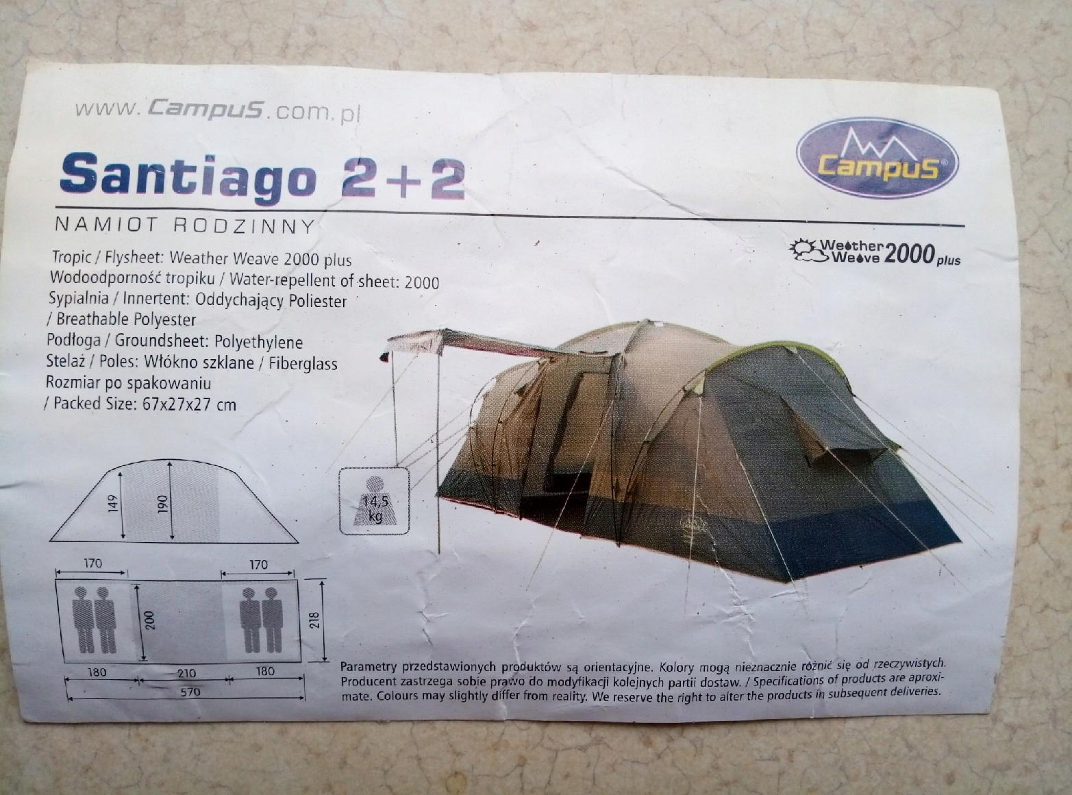 Namiot turystyczny 2+2 marki Campus