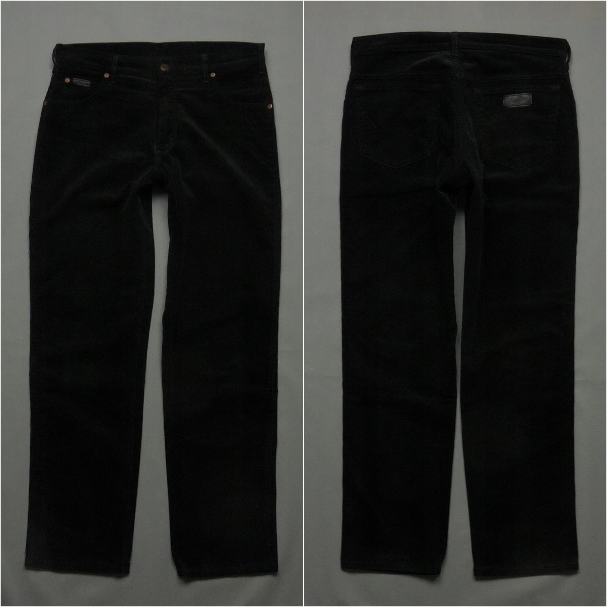 WRANGLER spodnie sztruksowe sztruksy logo W34 L32