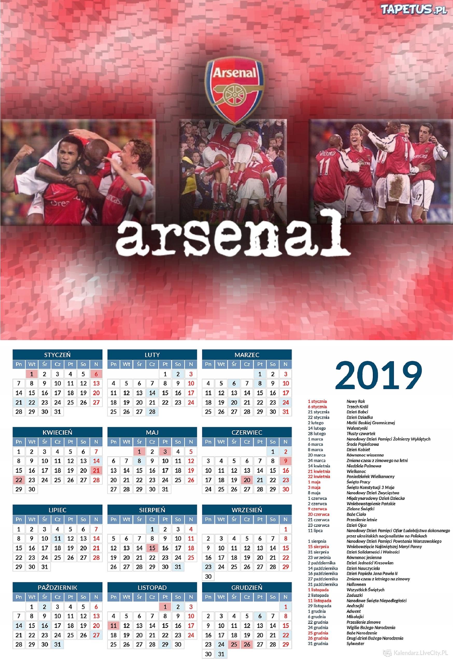 d39de742c Kalendarz 2019 ARSENAL LONDYN PIŁKA NOŻNA - 7678801861 - oficjalne ...