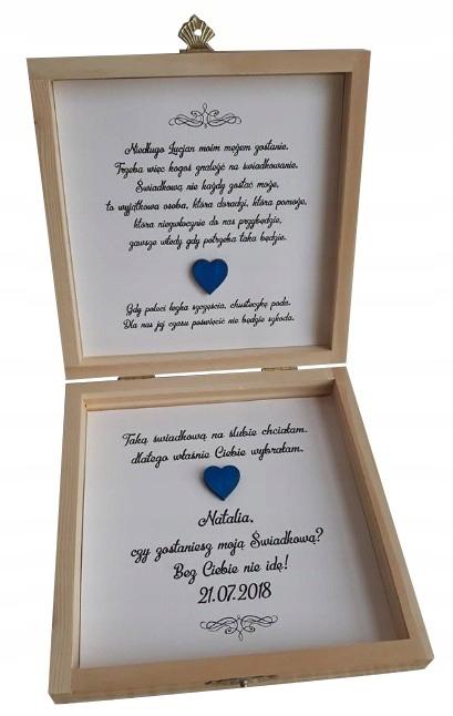 Bardzo dobryFantastyczny Zaproszenia ślub prośba świadków pudełko drewniane - 7248464770 BV96