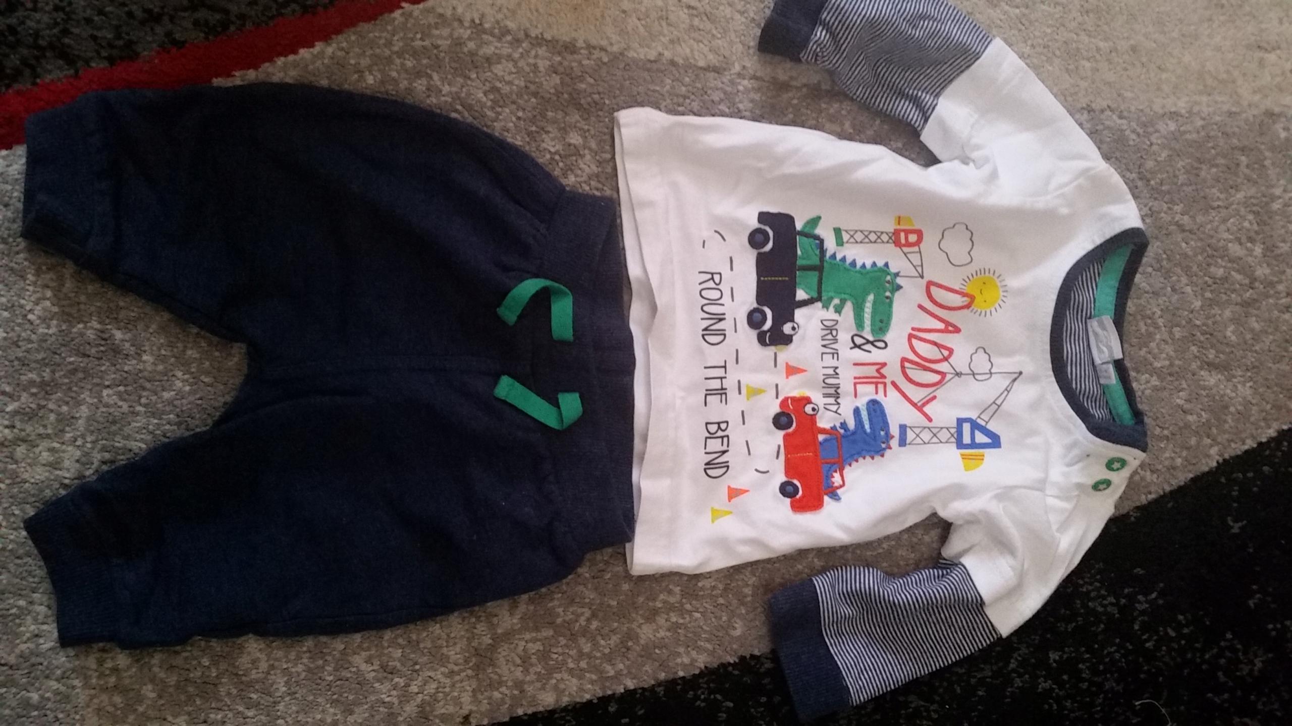 Komplet dla chłopca 0-3 mca Bluezoo spodnie bluzka