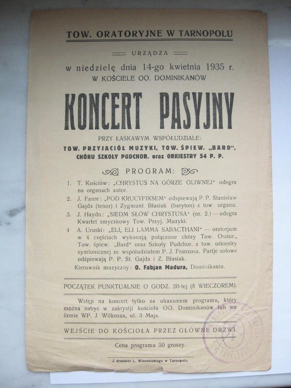 Tarnopol tow. Oratoryjne 1935 r. Ulotka