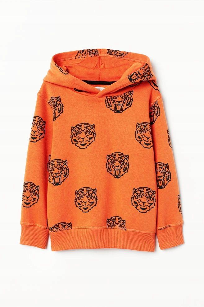 NOWA H&M bluza TYGRYSY pomarańczowa 110/116