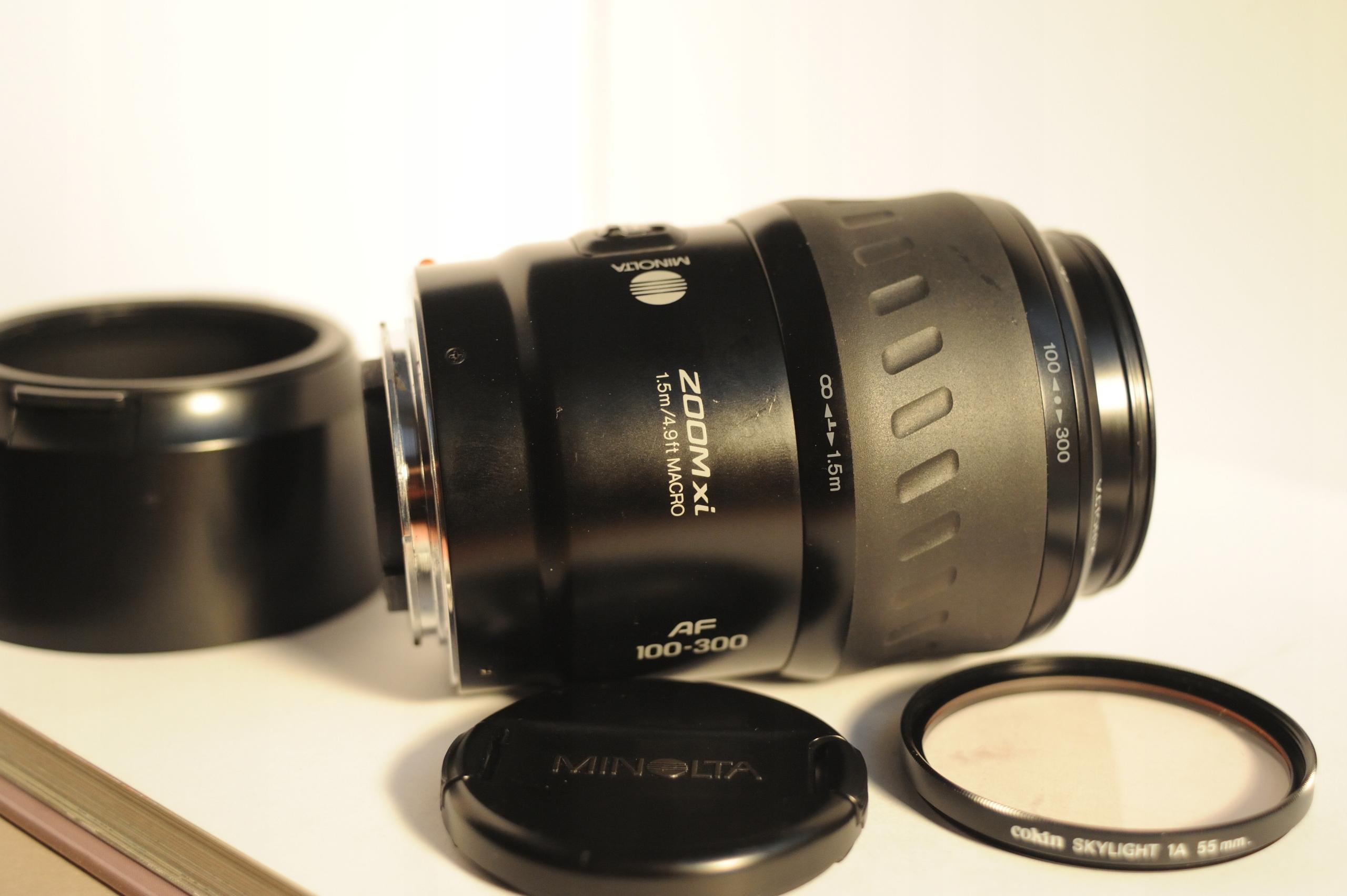 Minolta AF 100-300 Xi 4,5-5,6 + filtr + osłona