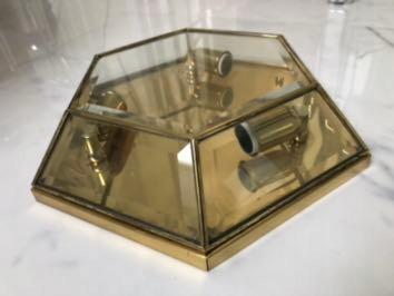 Plafon lampa mosiądz złota lata 70 średnia 35cm
