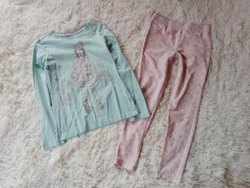 Komplet pastelowy bluzka F&F jegginsy 134 140