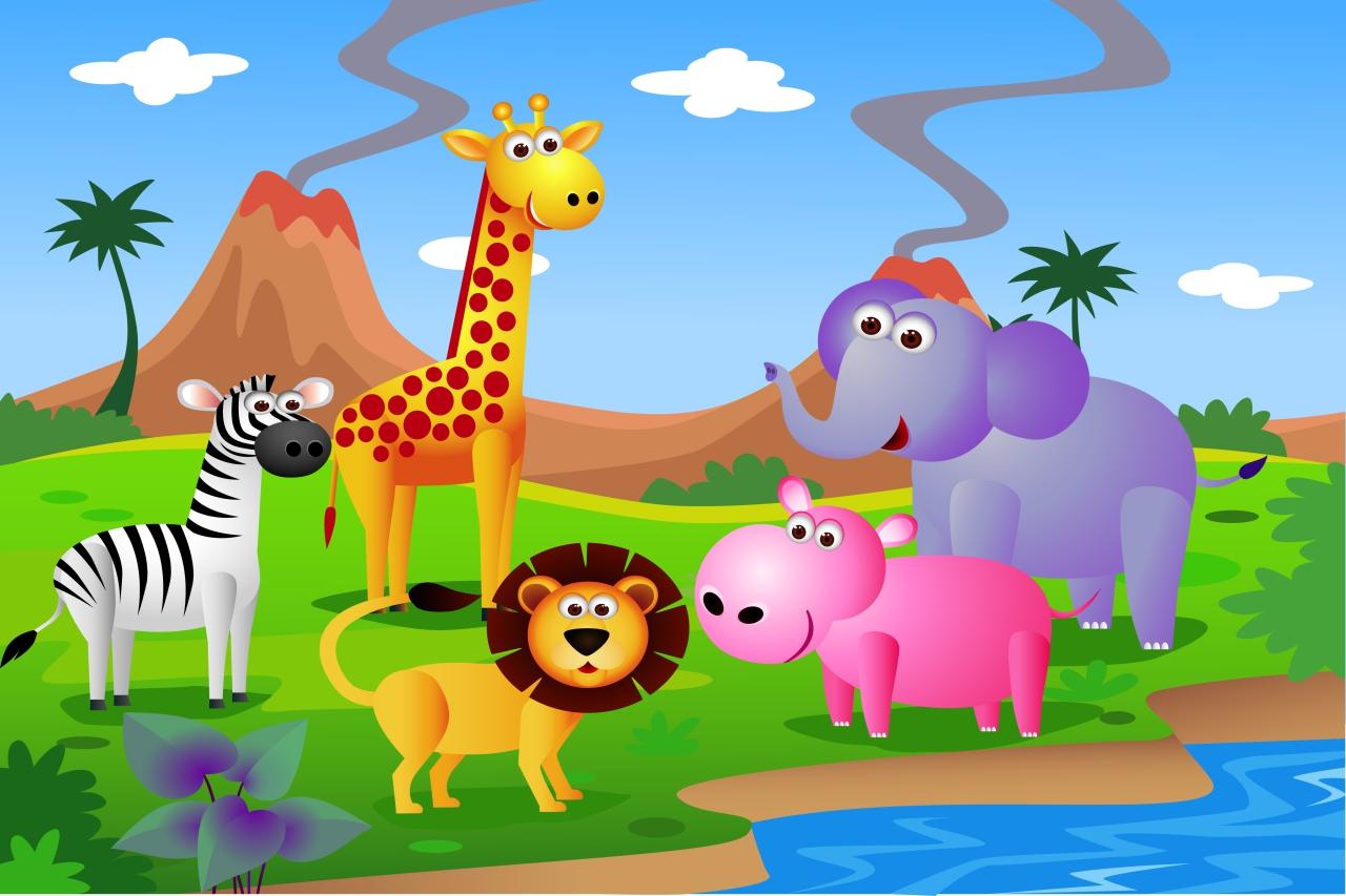 Fototapeta dla dzieci zwierzęta,wulkan,zebra,słoń