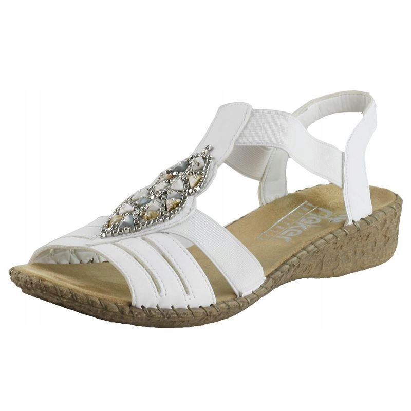 Białe Sandały damskie Rieker 61661 CoZaButy R.42