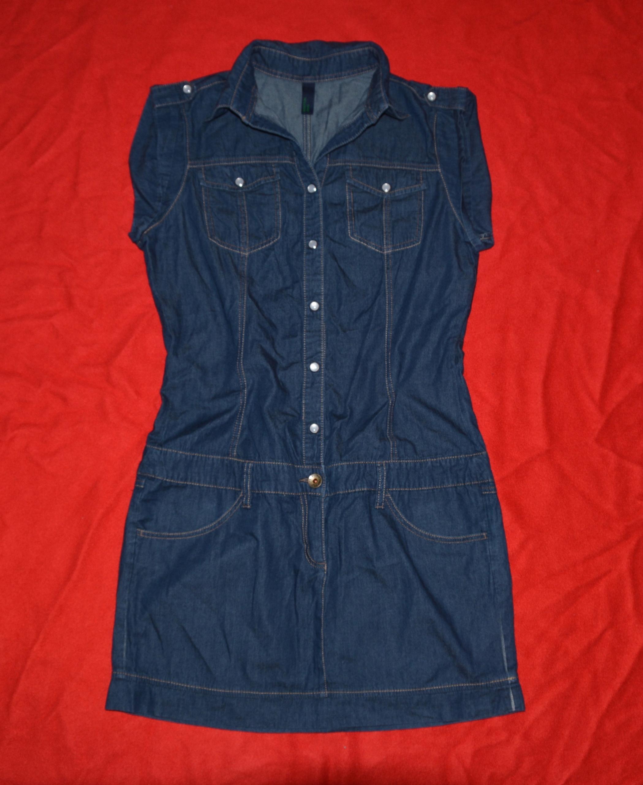 BENETTON * SUKIENKA jeansowa bawełna jak NOWA S