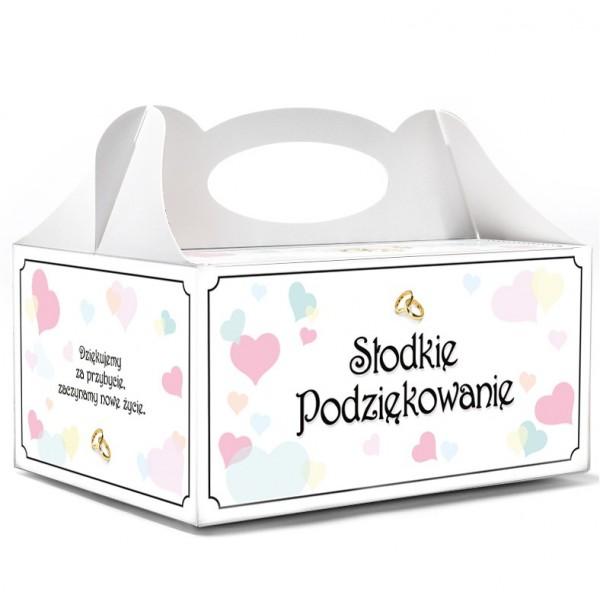 Pudełka na ciasto serduszka kolorowe pudełko ślub