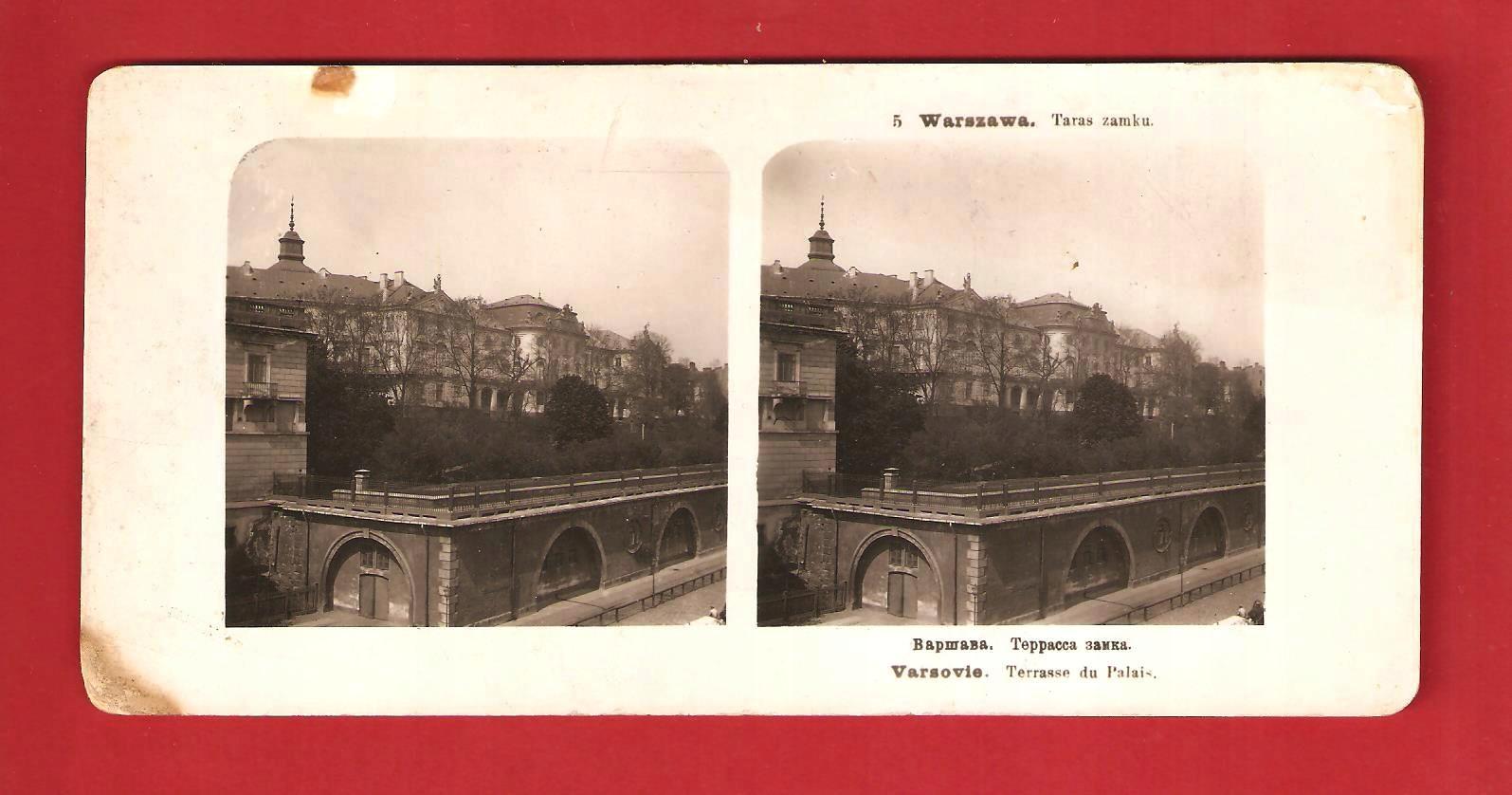 Warszawa 1905 Taras zamkowy Stereoskopia