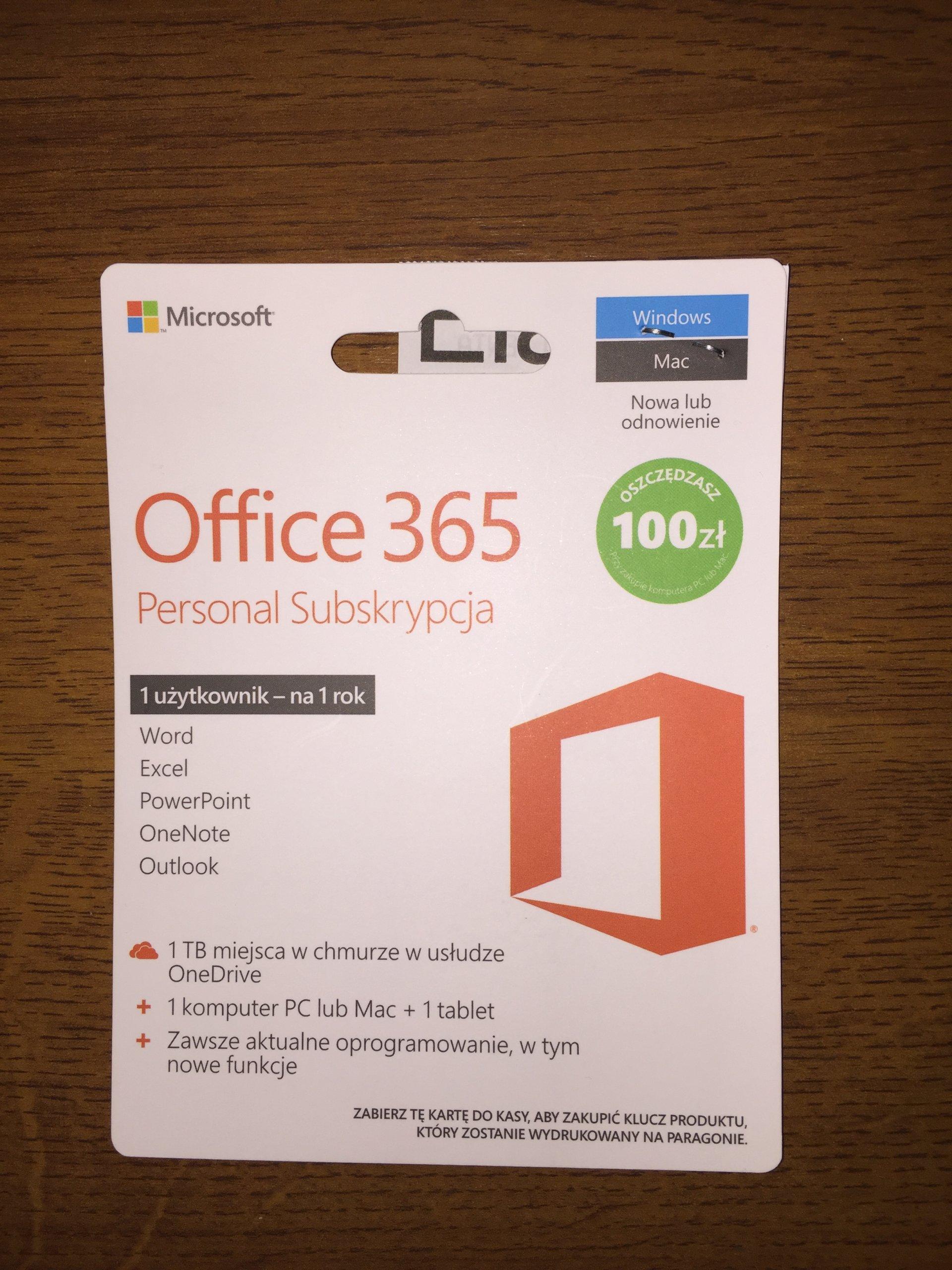 Roczna subskrypcja Office 365 Personal