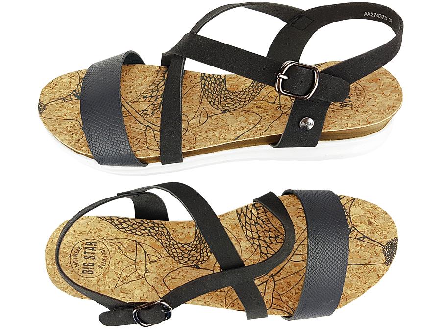 Sandały BIG STAR damskie czarne AA274373 buty 40