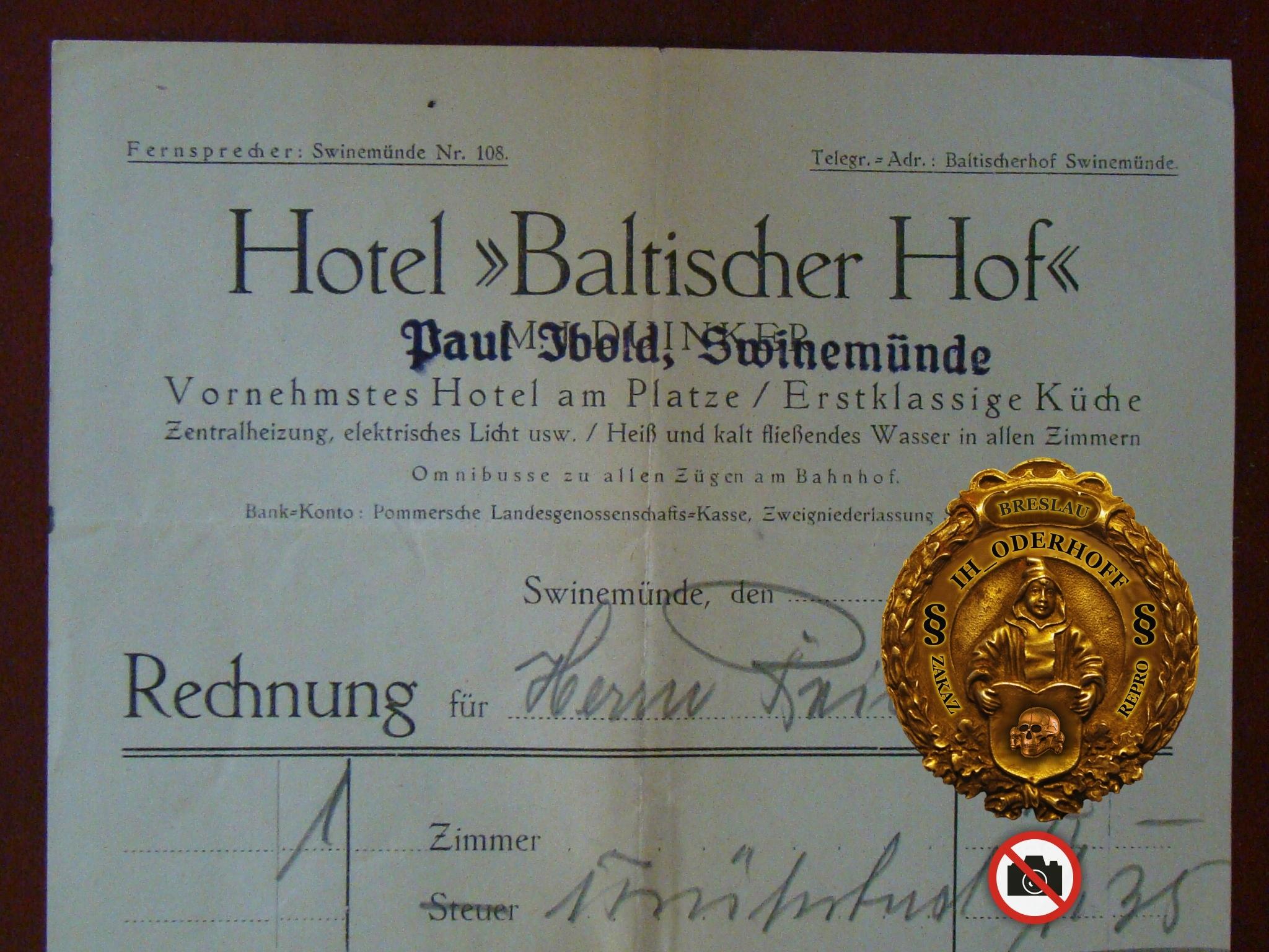 Swinemunde Hotel Baltischer Hof 22,5x14cm C2594