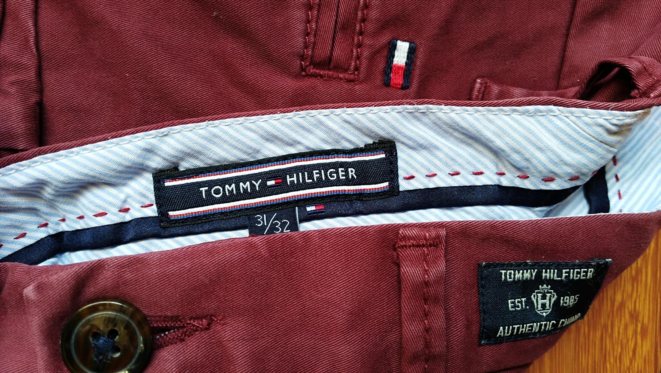 TOMMY HILFIGER spodnie chino męskie bordo W31 L32