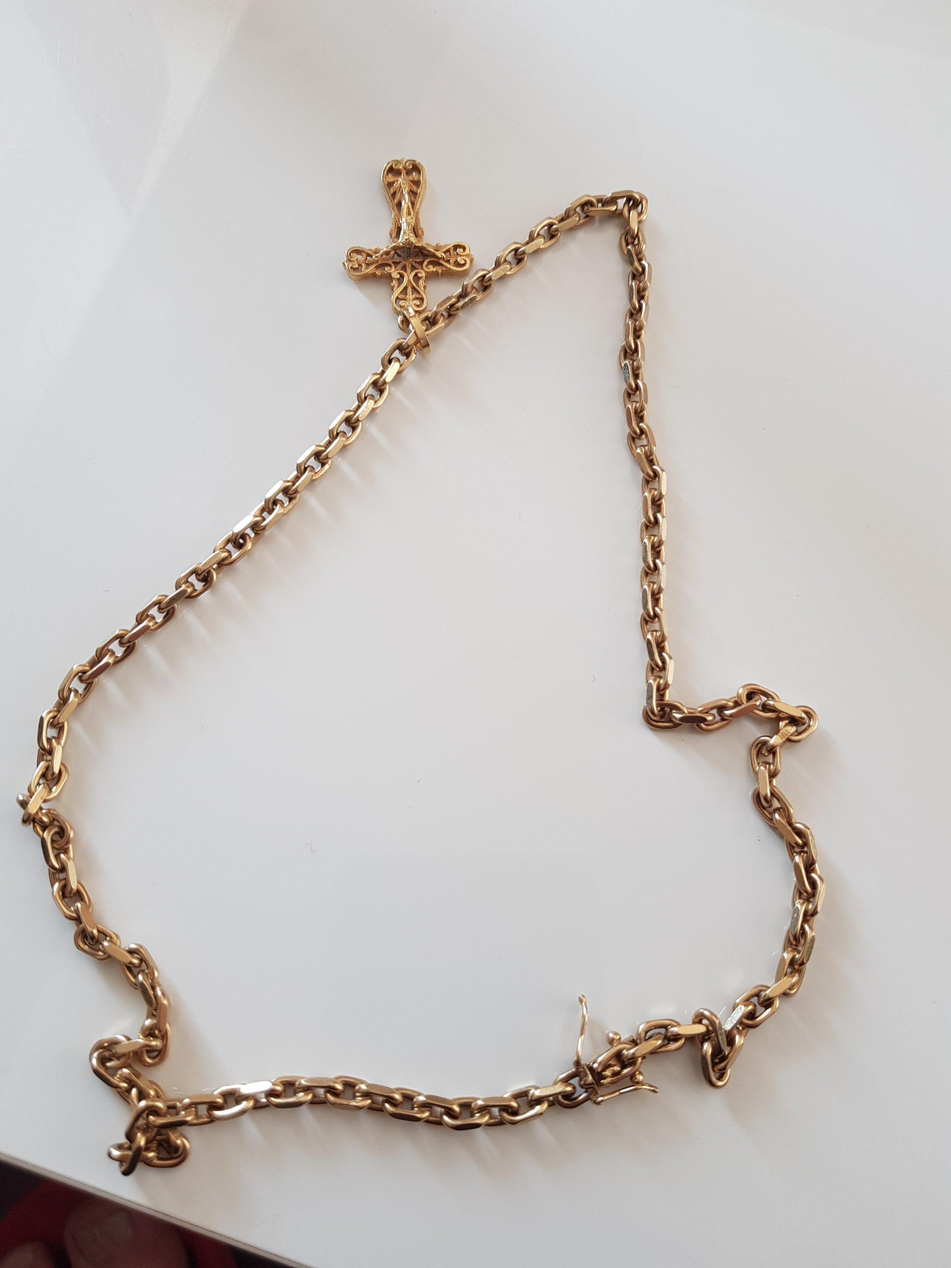 Złoty łańcuszek kuty 32,9 grama tanio