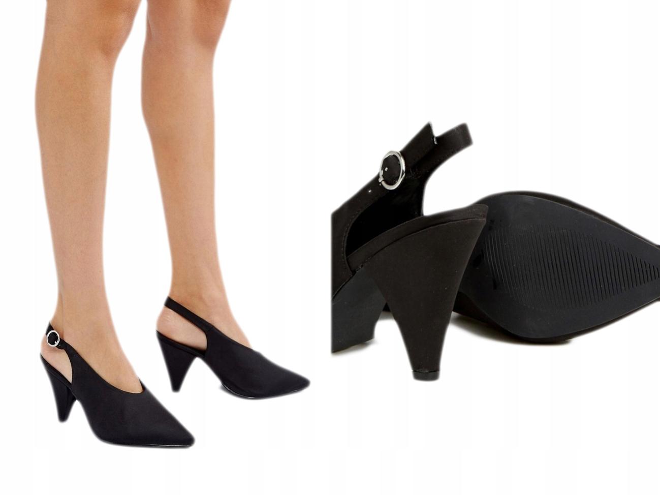 New Look Satynowe Sandały na Małym Obcasie 39