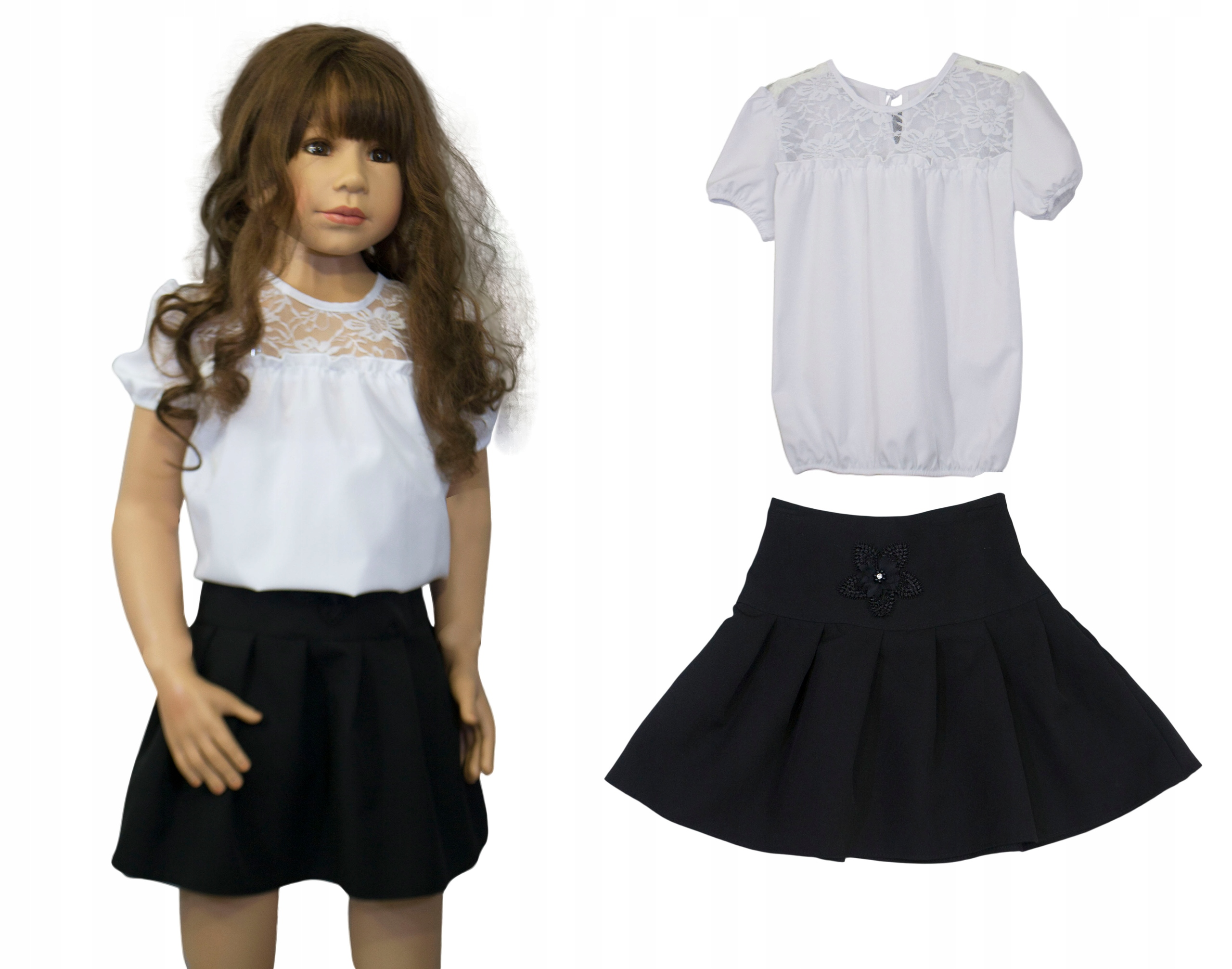 Komplet spódnica + bluzka galowa W004 rozmiar 152