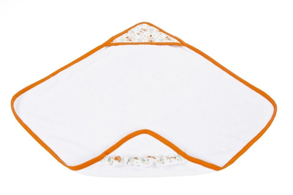 Ręcznik z kapturkiem - liski - ruda lamówka Poofi
