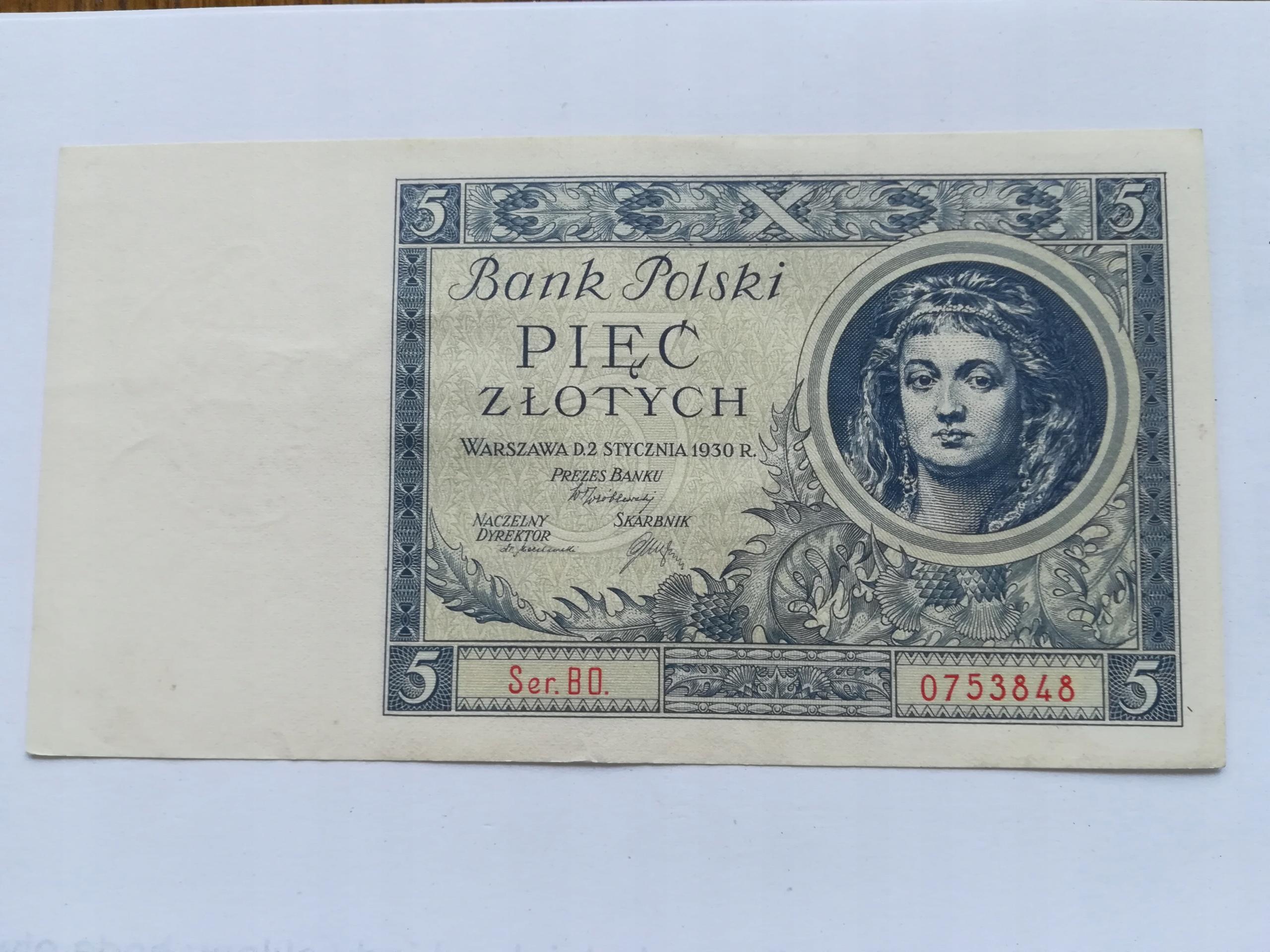 Banknot 5 zł z 1930r