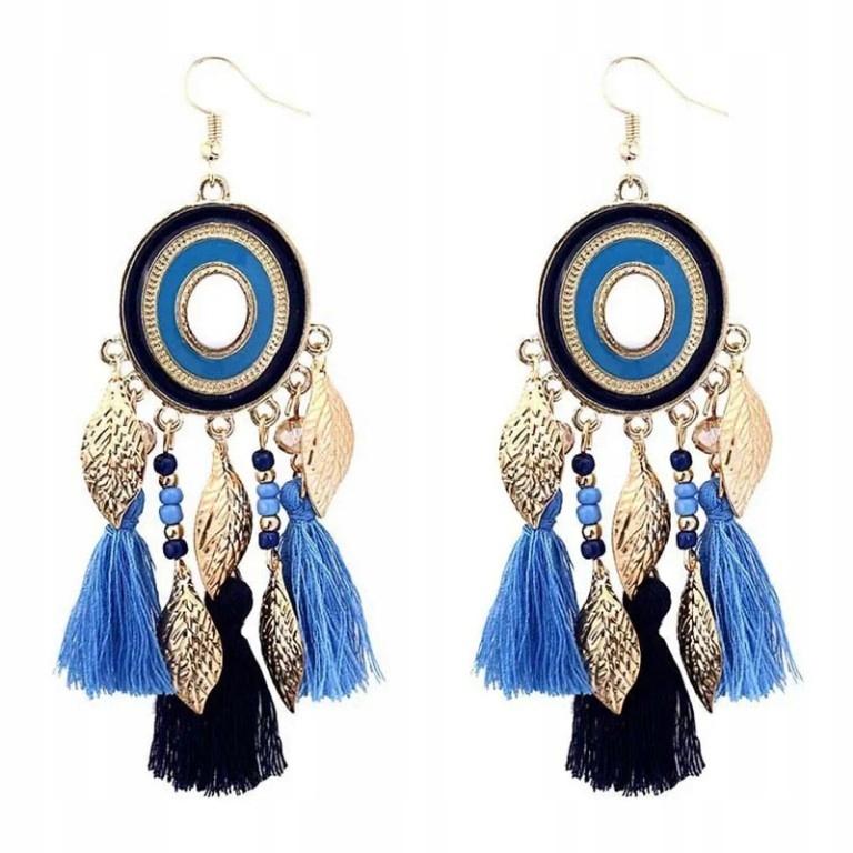 kolczyki frędzle indiańskie łapacz snów niebieski