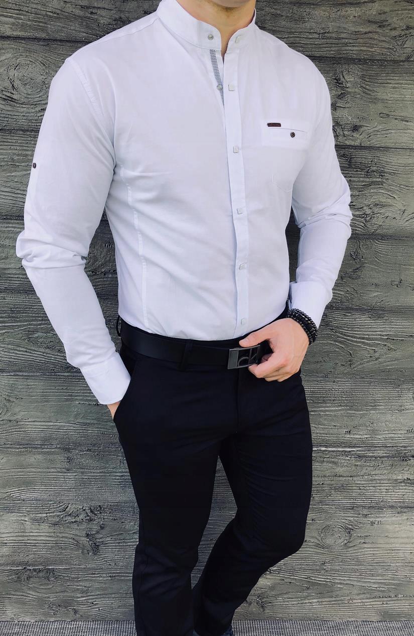 Fly Boys Biała męska koszula ze stójką napy Ceny i opinie