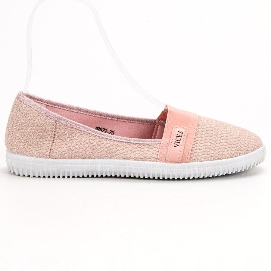 Różowe Tekstylne Buty Damskie Trampki Vices r.36