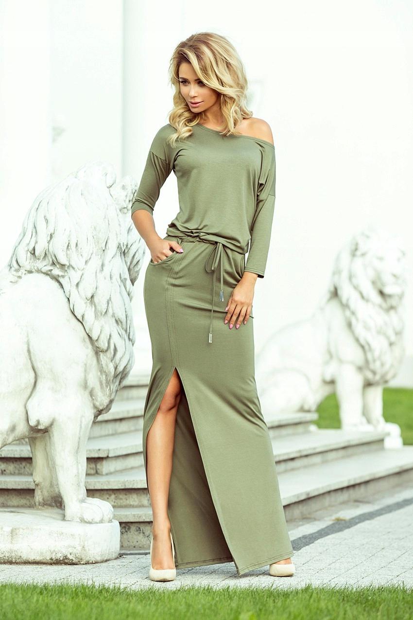Dresowa długa sukienka z rozcięciem w kolorze oliwkowym
