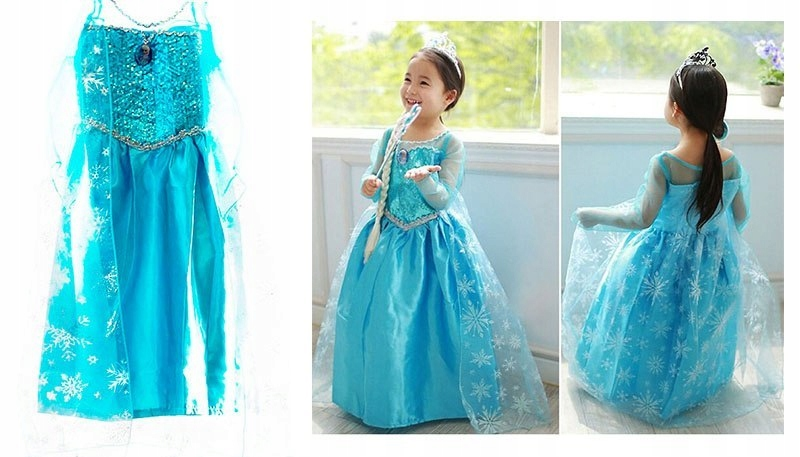 Kostium Elsa Kraina Lodu niebieska sukienka 140cm