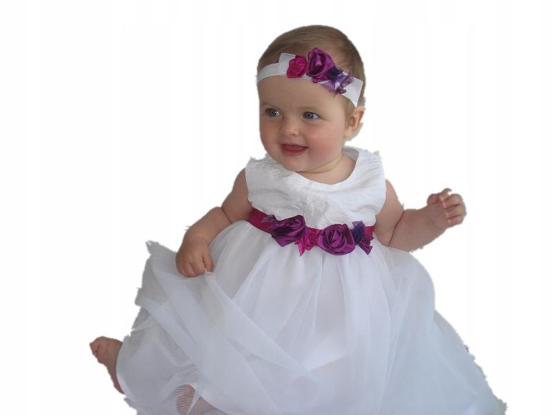 Sukienka do chrztu Fuksja 74 sweterkimałgosia