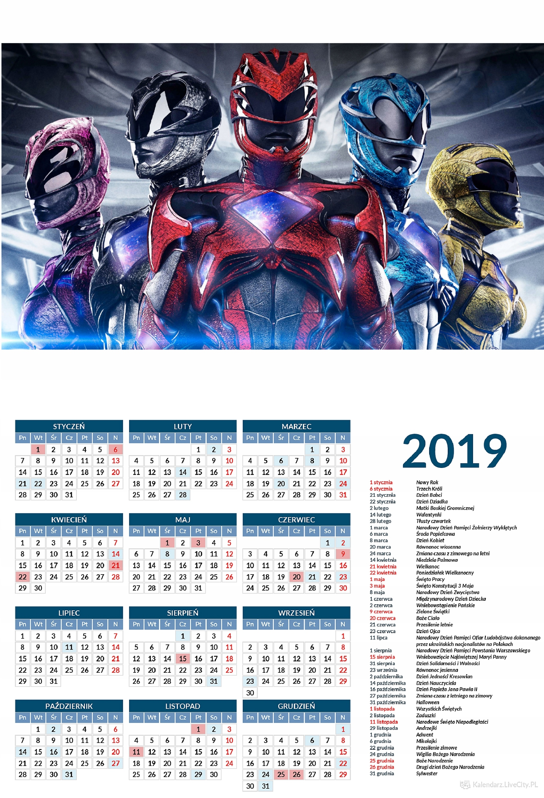 Kalendarz 2019 GRA POWER RANGERS