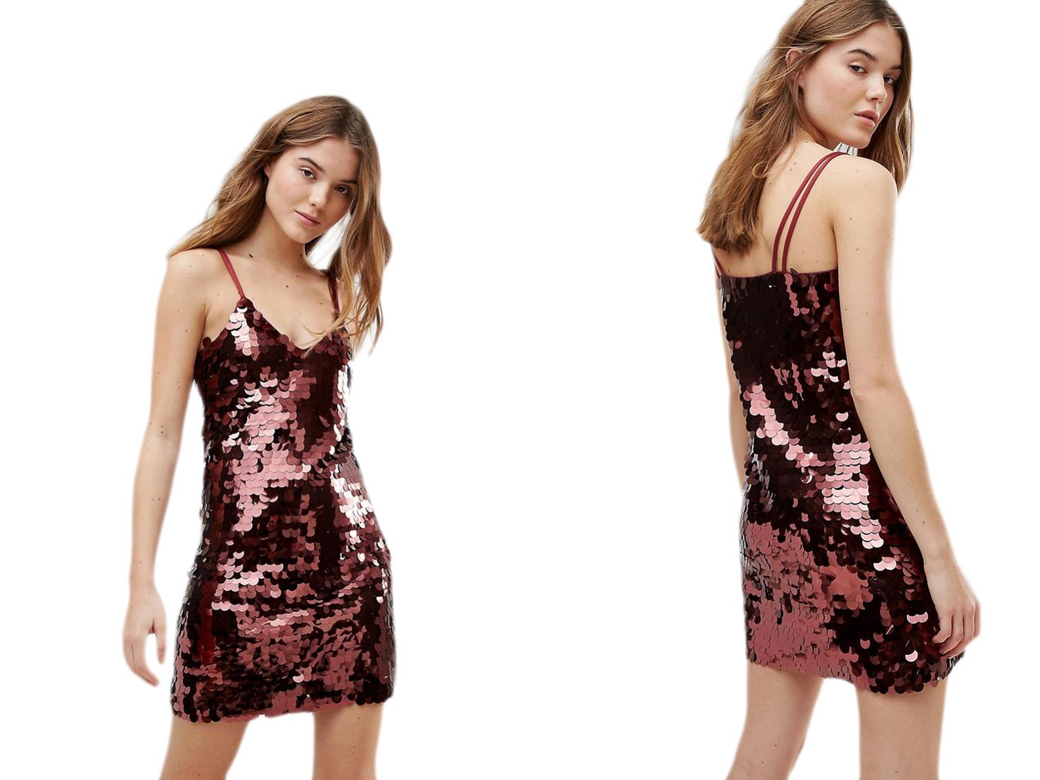 New Look Cekinowa mini sukienka ramiączka L/40