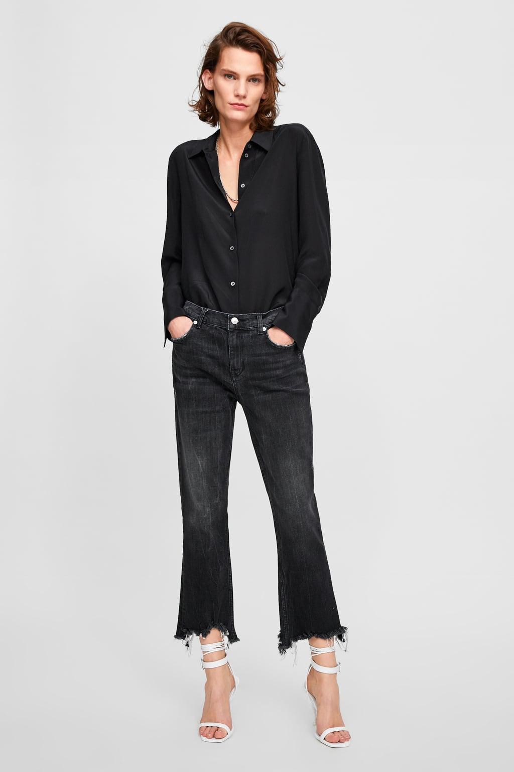 Zara M 38 jeansy czarne przecierane postarzone