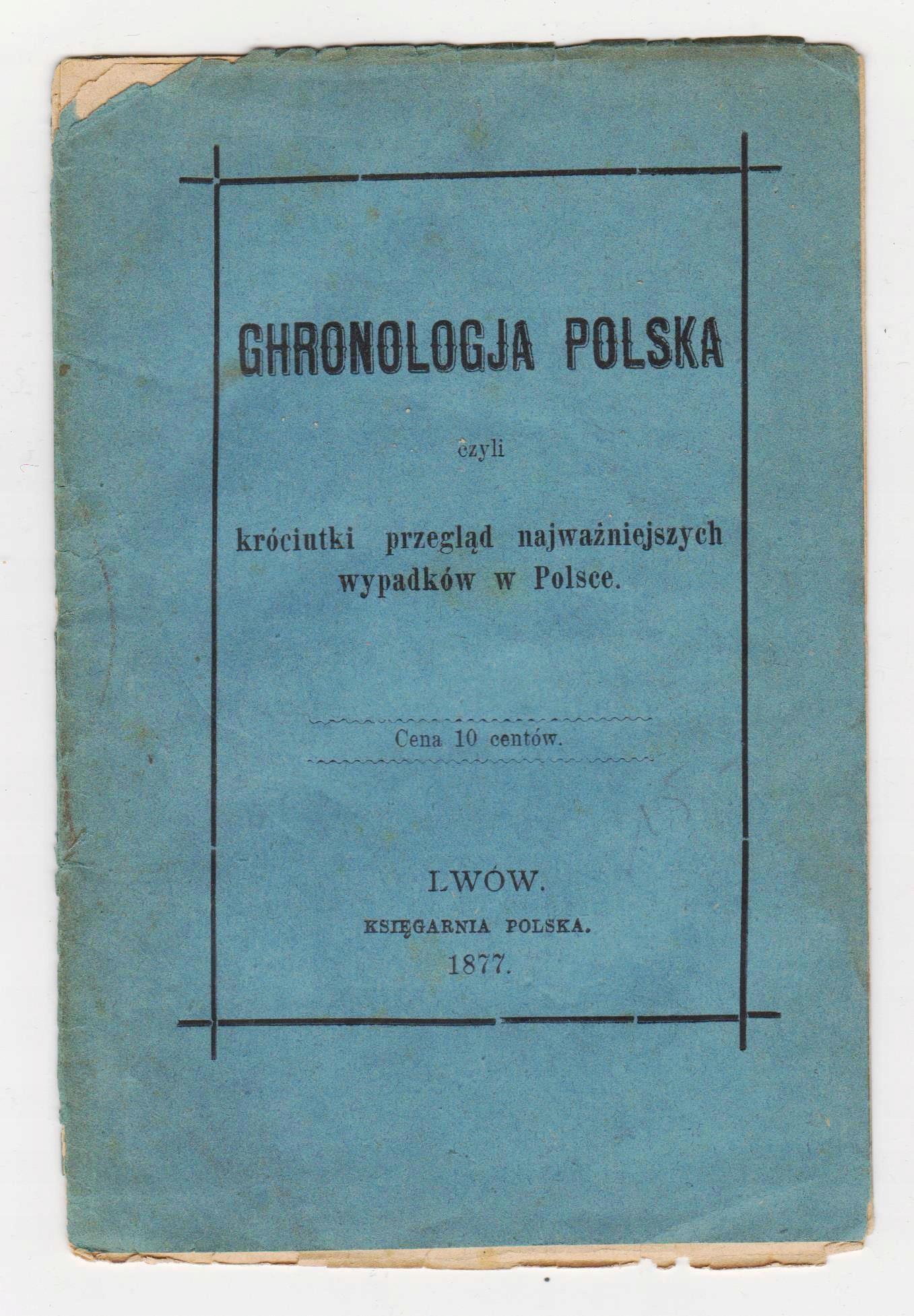Chronologia polska Lwów 1877 r druk ulotny