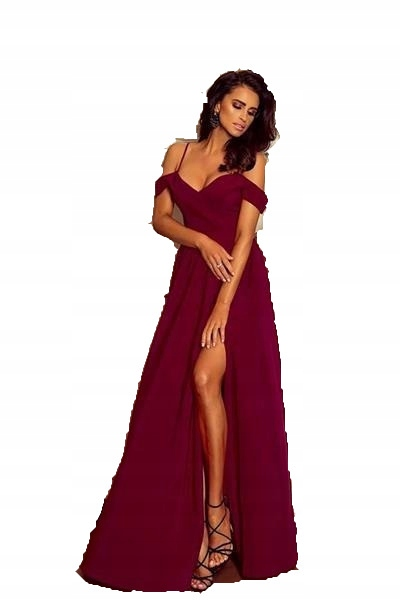 4e59bb87 Sukienka Suknia Lux Długa Maxi ELIZABETH Bordo M - 7710945520 ...