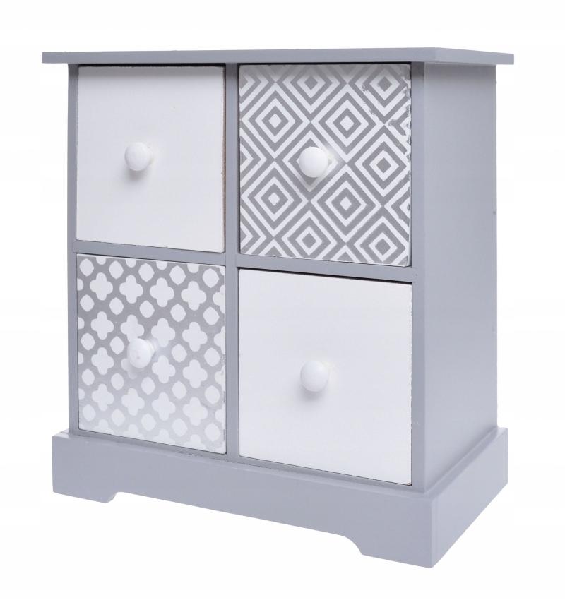 Szkatułka - szafka 4 szuflady na drobiazgi szara