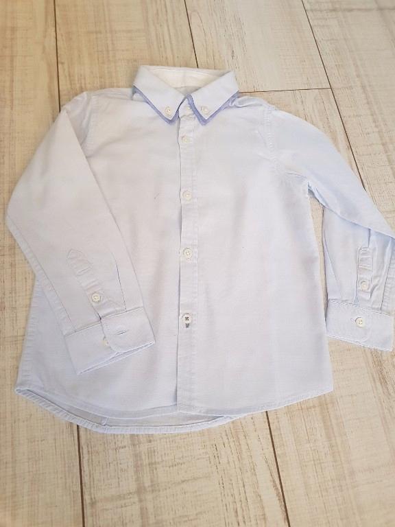 Koszula zara 110 podwójny kołnierzyk błękitna