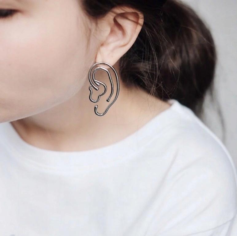 kolczyki uszy earring abstract ears fashion